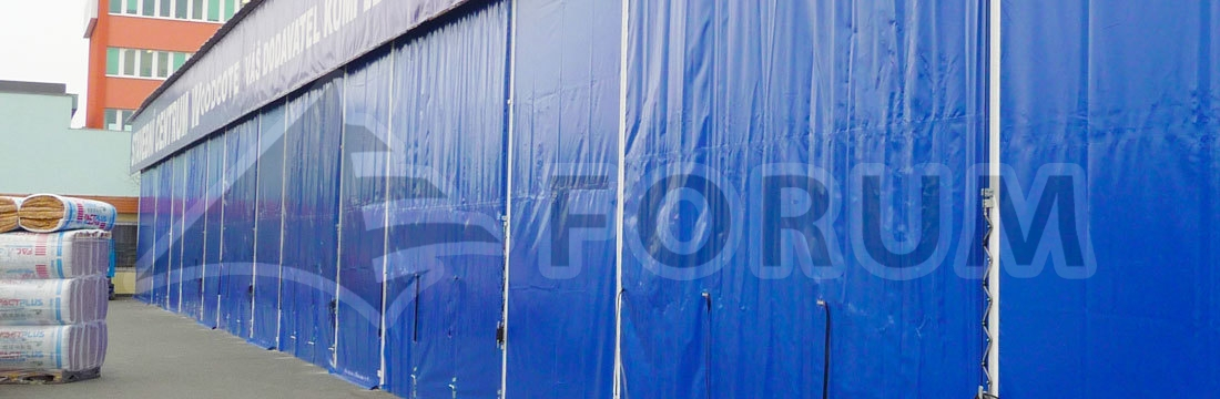Industrial partitions, shielding canvases